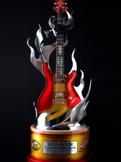 The winner's trophy for the Chevy Rock & Roll 400
