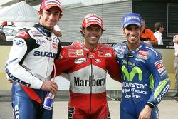 Pole winner Loris Capirossi with John Hopkins and Marco Melandri