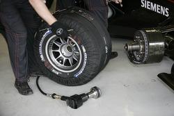 Tire warmers at McLaren