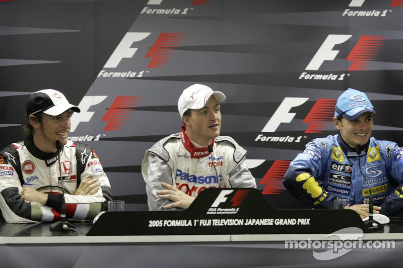 Conferencia de prensa FIA: Ganador Polo Ralf Schumacher con Jenson Button y Giancarlo Fisichella