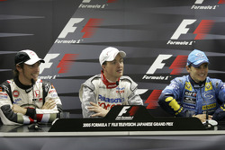 FIA press conference: pole winner Ralf Schumacher with Jenson Button and Giancarlo Fisichella