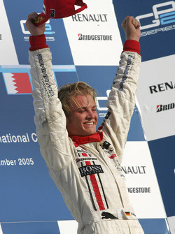Podium: race winner and 2005 GP2 Series champion Nico Rosberg celebrates