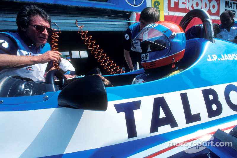 g rard ducarouge with jean pierre jabouille talbot ligier at spanish gp. Black Bedroom Furniture Sets. Home Design Ideas