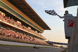 The chequered flag at the end of pre-season testing