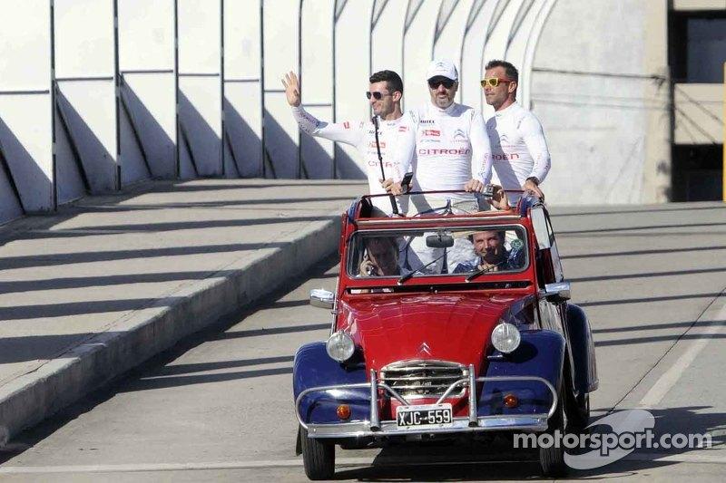 Sébastien Loeb, Jose Maria Lopez, Yvan Muller, Citroën, während einer Roadshow in Cordoba
