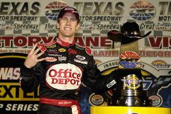 Victory lane: race winner Carl Edwards celebrates his fourth win of the season