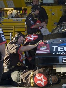 The Texaco/Havoline crew work on the #42 Dodge