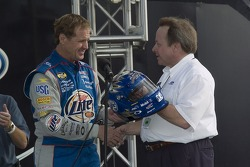 Rusty Wallace is presented with a helmet for his last race