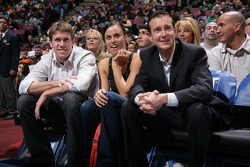 Carl Edwards, Kurt Busch and swimmer Amanda Beard watch the game between the New Jersey Nets and the Detroit Pistons at the Continental Airlines Arena in East Rutherford, New Jersey