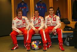 Sébastien Loeb, François Duval and Daniel Sordo in the locker room of the Stade de France