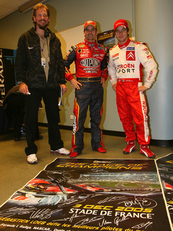 Race of Champions organizer Fredrik Johnsson with Jeff Gordon and Sébastien Loeb