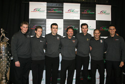 AGR's complete lineup for 2006, from left: Menards Infiniti Pro Series driver Jonathan Klein, IndyCar Series drivers Marco Andretti and Dario Franchitti, Indianapolis 500 driver Michael Andretti, IndyCar Series drivers Bryan Herta and Tony Kanaan, and Men