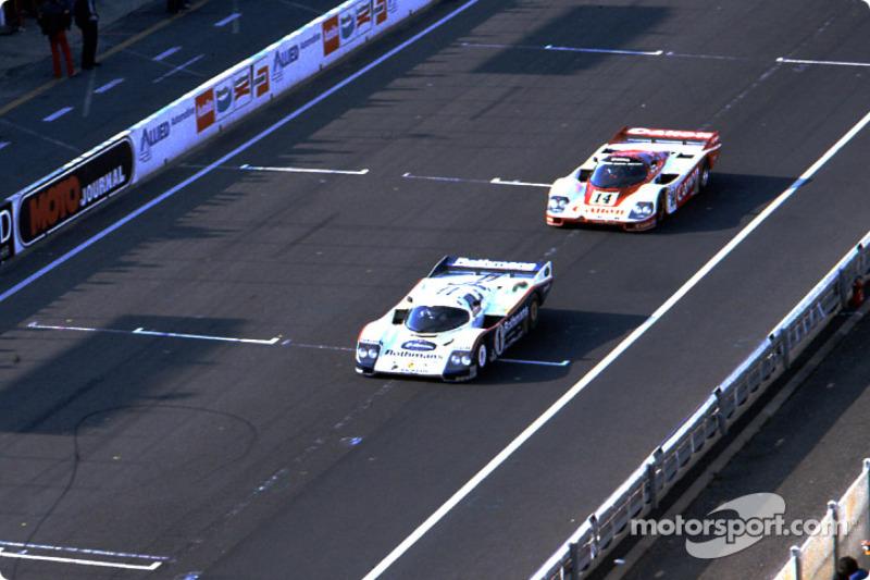 #1 Rothmans Porsche Porsche 962C: Jacky Ickx, Jochen Mass, #14 Richard Lloyd Racing Porsche 956: Jonathan Palmer, James Weaver, Richard Lloyd