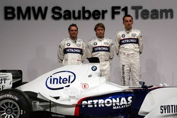 Jacques Villeneuve, Nick Heidfeld and Robert Kubica with the BMW Sauber F1.06