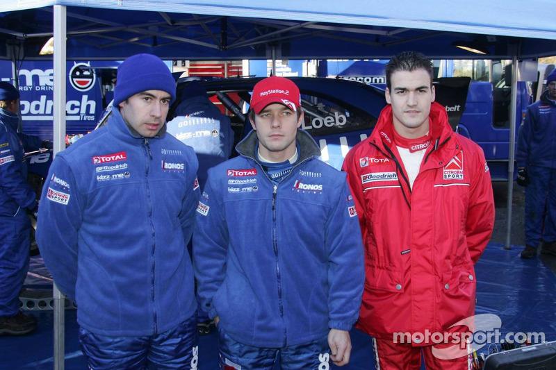 Xavier Pons, Sébastien Loeb and Daniel Sordo