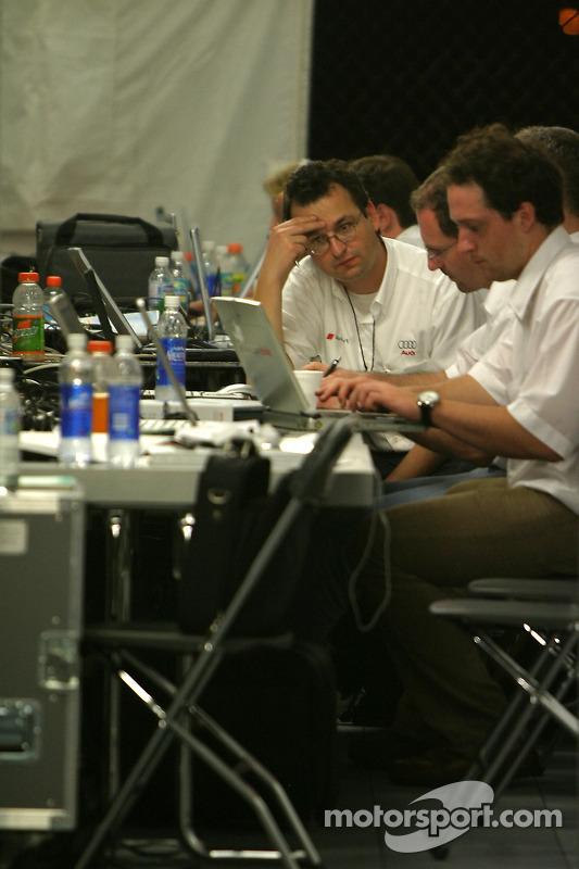 Les ingénieurs Audi au travail dans le garage de Audi Sport North America