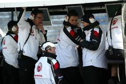 Rubens Barrichello at Honda pitwall