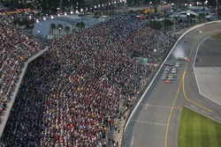 Jeff Gordon leads the field while J.J. Yeley spins