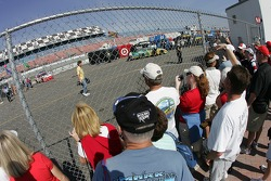 Fans watch garage and pit road activity
