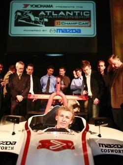 Alan Sciuto sits in the new Atlantic car