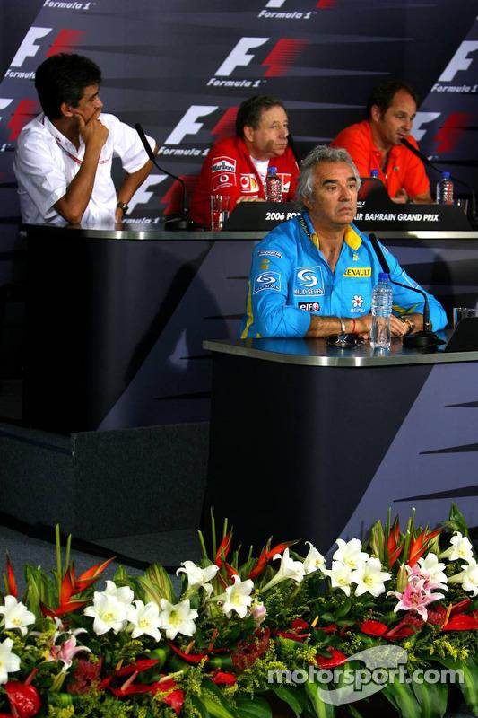 Conférence de presse: Flavio Briatore, Aguri Suzuki, Jean Todt et Gerhard Berger