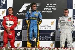 Podium: Sieger Fernando Alonso mit Michael Schumacher und Kimi Räikkönen