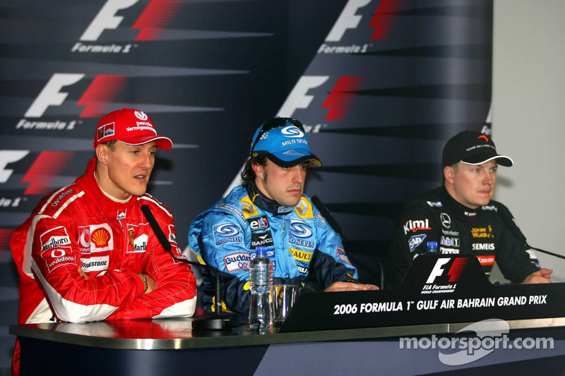 Conferencia de prensa: ganador de la carrera Fernando Alonso Michael Schumacher y Kimi Raikkonen