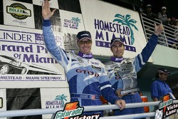 GT podium: class winners Paul Edwards and Kelly Collins celebrate