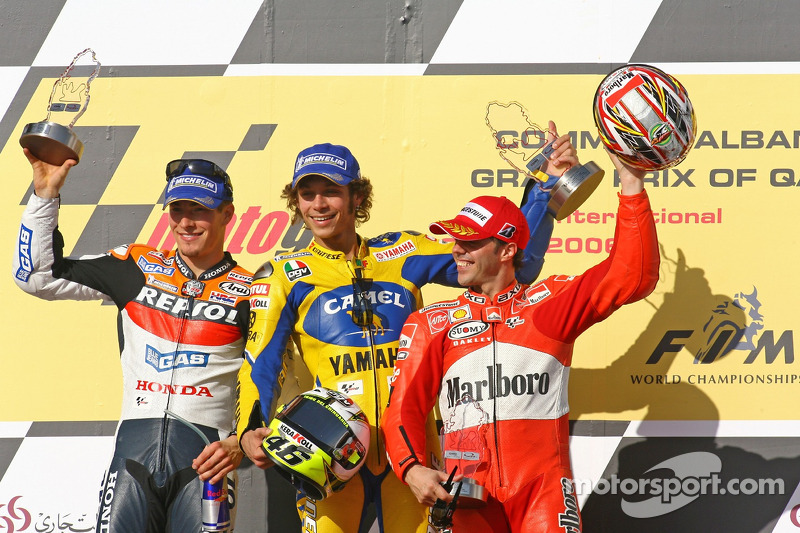 2006: 1. Valentino Rossi, 2. Nicky Hayden, 3. Loris Capirossi
