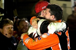 Victory lane: race winner Kevin Harvick congratulated by Tony Stewart