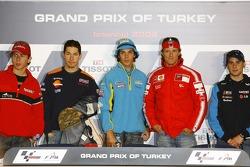 Press conference: pole winner Chris Vermeulen with Nicky Hayden and Sete Gibernau