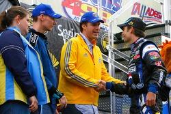 Actor Will Ferrell and mine survivor Randy McCloy greet Jeff Gordon
