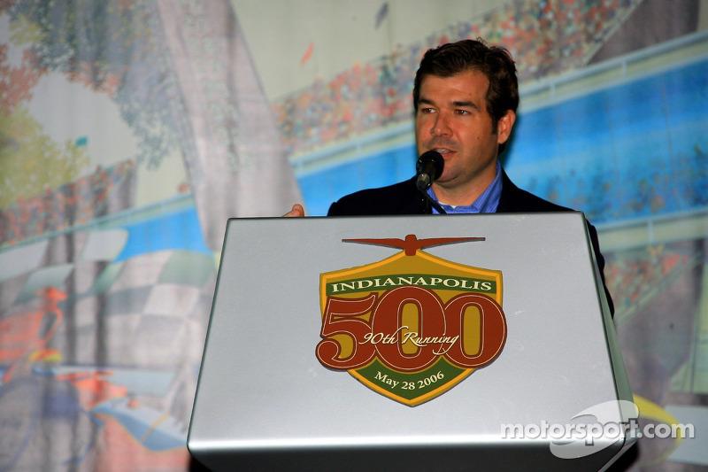 Le président de Indianapolis Motor Speedway Joie Chitwood à la présentation de la Chevrolet Corvette