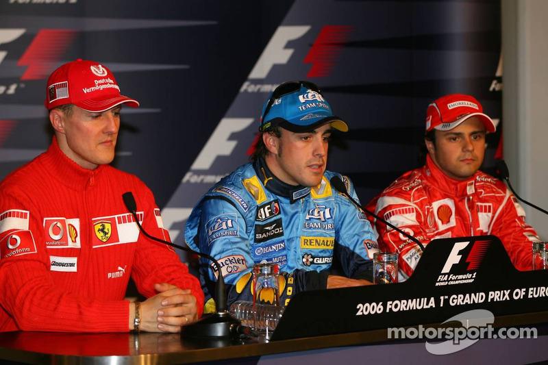 Conférence de presse: Fernando Alonso avec Michael Schumacher et Felipe Massa