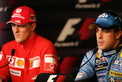 Press conference: pole winner Fernando Alonso with Michael Schumacher