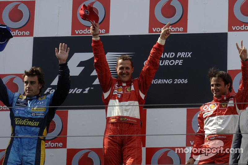 2006. Нюрбургрінг. Подіум: 1. Міхаель Шумахер, Ferrari. 2. Фернандо Алонсо, Renault. 3. Феліпе Масса, Ferrari