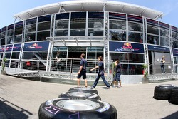 Michelin tires in front of the Red Bull Energy Station