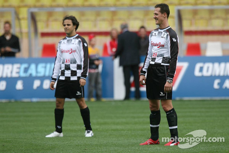 Match de football de charité: Michael Schumacher et Felipe Massa