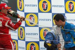 Podium: champagne for Michael Schumacher