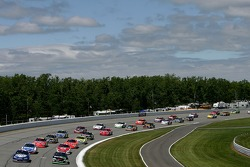 The field heads into turn three as they begin to start racing