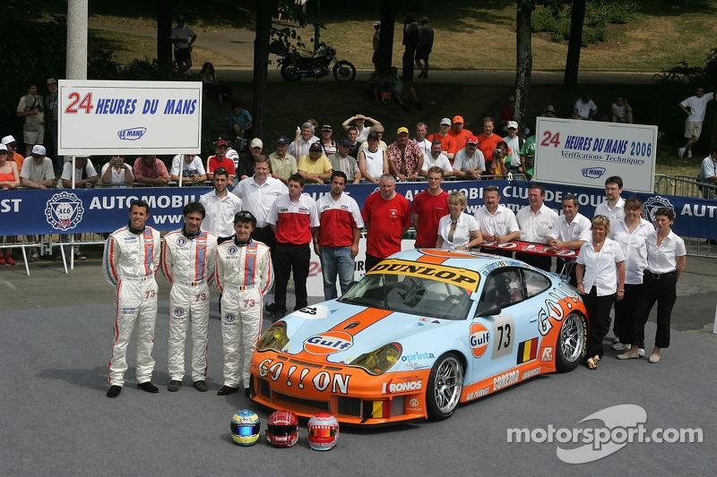 Yves Lambert, Christian Lefort, Romain Iannetta, et l'équipe Ice Pol Racing avec la Ice Pol Racing Team Porsche GT3 RSR