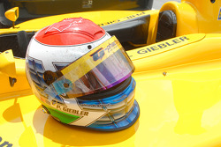 Phil Giebler's helmet after 39 laps at Indy