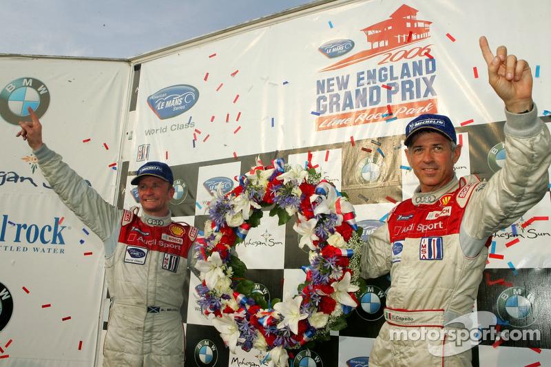 Podium du LMP1 : les grands vainqueurs Rinaldo Capello et Allan McNish