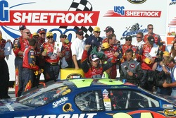Jeff Gordon exits the car in Victory Lane