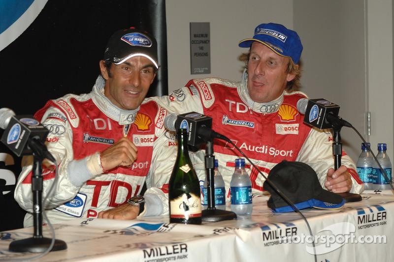Conférence de presse d'après-course avec les grands vainqueurs Emanuele Pirro et Frank Biela