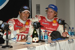 Post-race press conference with overall winners Emanuele Pirro and Frank Biela