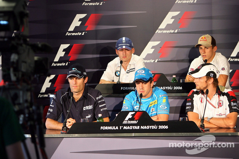 Conferencia de prensa FIA: Mark Webber, Robert Kubica, Christian Klien y Fernando Alonso, Jenson Button