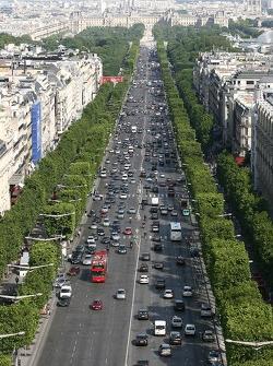 A view from atop the Arc de Triomphe: the Champs-Élysées