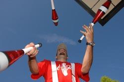 A juggler performs