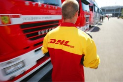 DHL Logistics personnel in the paddock
